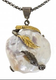 Mother of Pearl Pendant with Leaves Accent
