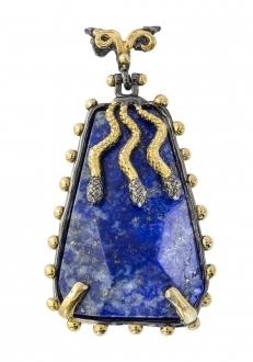 Exotic Lapis Lazuli Pendant with Gold Snakes
