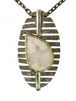 Modern Silver and Druzy Quartz Pendant