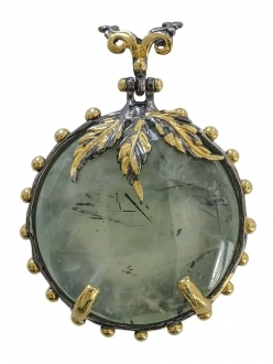 Green Quartz Pendant with Gold Leaves