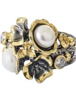 Freshwater Pearl and Swarovski Crystal Flower Ring