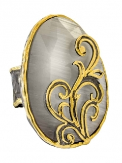 White Sapphire Ring with Gold Detail