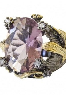 Pink Crystal Ring with Swarovski Accents