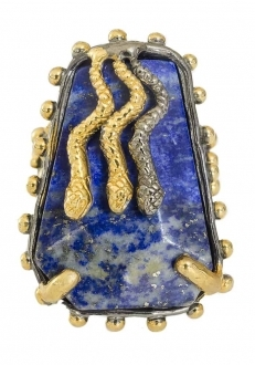 Exotic Lapis Lazuli Ring with Gold Snakes