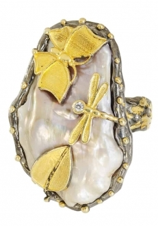 Raw Mother of Pearl Ring with Gold Butterfly & Dragonfly