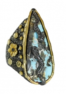 Turquoise Teardrop Ring with Snakes & Flowers