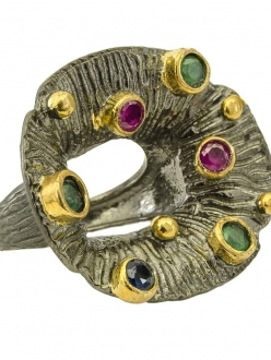 Silver Flower Ring with Ruby, Emerald & Sapphire Stones