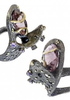 Modern Pink Crystal Ring