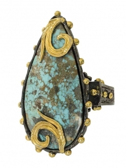 Turquoise Teardrop Ring with Gold Accents