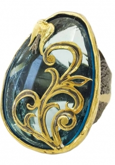Blue Crystal Ring with Gold Detail