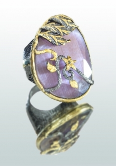 Pink Sapphire Ring with Gold Detail