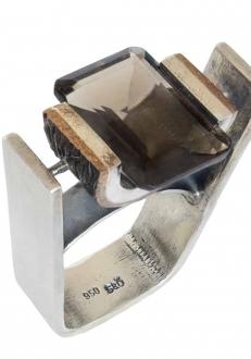 Structured Smokey Topaz Ring